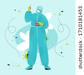 nurse in protective suit holds... | Shutterstock .eps vector #1710181453