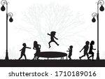 children black silhouettes in... | Shutterstock .eps vector #1710189016