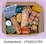 top view on cardboard box with... | Shutterstock . vector #1710211750