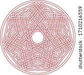 Red Heptagram Vector Pattern...