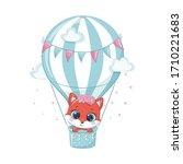 cute baby fox on a hot air...   Shutterstock .eps vector #1710221683