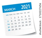march 2021 calendar leaf  ... | Shutterstock .eps vector #1710227656