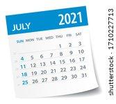 july 2021 calendar leaf  ... | Shutterstock .eps vector #1710227713