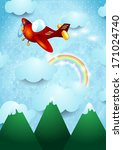 airplane over the mountain ... | Shutterstock .eps vector #171024740