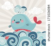 card with cute whale in the sea ... | Shutterstock .eps vector #171026084