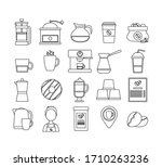 bungle of coffee line icons....