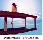 A Woman Sitting On A Pier\'s...