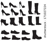 collection of shoes silhouettes ... | Shutterstock .eps vector #171027224