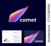 comet logo. astronomical object ...