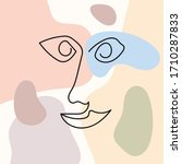 sketch of human face on colored ... | Shutterstock .eps vector #1710287833