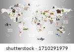 animals world map for kids... | Shutterstock . vector #1710291979
