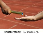 relay athletes hands sending... | Shutterstock . vector #171031376