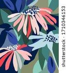 flower illustration pattern.... | Shutterstock .eps vector #1710346153