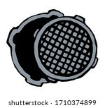 round manhole cover. vector... | Shutterstock .eps vector #1710374899