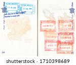 immigration stamps of vietnam... | Shutterstock . vector #1710398689