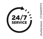 24 7 Service Icon. Support Sig...