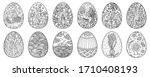 easter eggs hand drawn... | Shutterstock . vector #1710408193