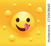 yummy face with happy smile and ... | Shutterstock .eps vector #1710418660