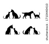 dog and cat silhouette ... | Shutterstock . vector #1710440410
