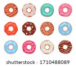 donuts. doughnuts in colorful... | Shutterstock .eps vector #1710488089
