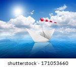 blue calm sea and the white... | Shutterstock . vector #171053660