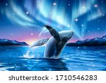 Humpback Whale Breaching Water...