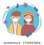 young boy and girl with... | Shutterstock .eps vector #1710552826