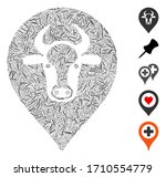 linear collage cow map pointer... | Shutterstock .eps vector #1710554779