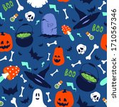 Halloween Flat Seamless Pattern ...