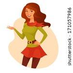 beautiful cartoon girl in... | Shutterstock .eps vector #171057986