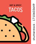 vector taco background poster.... | Shutterstock .eps vector #1710603649