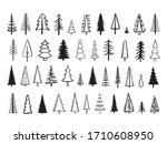 outline fir tree hand drawn set.... | Shutterstock .eps vector #1710608950