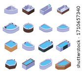 Jacuzzi Icons Set. Isometric...