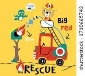 bear the fire fighter funny...   Shutterstock .eps vector #1710665743
