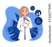 virtual doctor app flat vector... | Shutterstock .eps vector #1710677590