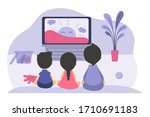 boys and girls sitting at tv... | Shutterstock .eps vector #1710691183