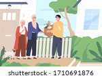 young man giving a bag of... | Shutterstock .eps vector #1710691876