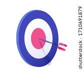 cartoon arrow exactly on target ... | Shutterstock .eps vector #1710691879