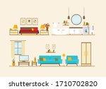 set with interiors  bathroom ... | Shutterstock .eps vector #1710702820