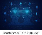 concept of machine learning or... | Shutterstock .eps vector #1710703759