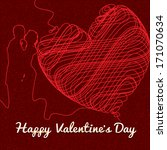 valentine's day background with ... | Shutterstock .eps vector #171070634
