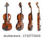 Set Of Classic Violins On White ...