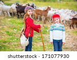kid girl shepherdess sisters... | Shutterstock . vector #171077930