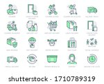 food delivery line icons.... | Shutterstock .eps vector #1710789319