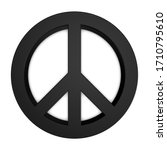 peace sign   black 3d...   Shutterstock . vector #1710795610