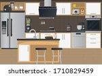 kitchen interior flat... | Shutterstock .eps vector #1710829459
