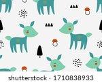 seamless animal vector pattern... | Shutterstock .eps vector #1710838933