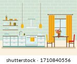 kitchen interior with furniture ...   Shutterstock .eps vector #1710840556