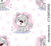 seamless pattern with cute...   Shutterstock .eps vector #1710853900