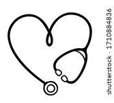 stethoscope heart shape... | Shutterstock .eps vector #1710884836